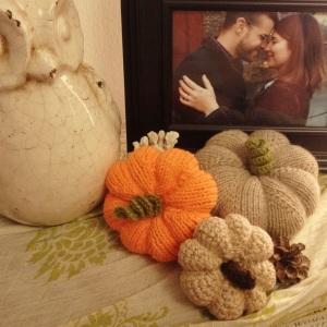 Handknit pumpkins