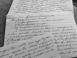 Handwritten Cheesecake Recipe