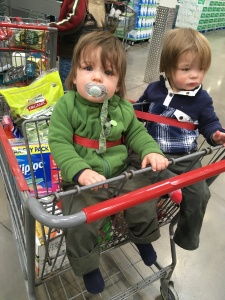 The twins were fairly unimpressed with Costco this morning.